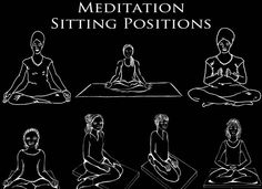 illustrations of meditation pose silhouettes with meditation poses for sitting