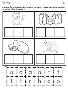 The CVC Color, Cut and Paste worksheets help Pre-K, Kindergarten and Grade students to isolate each individual sound in the simple CVC word families, which will promote early phonics skills. Kindergarten Language Arts, Kindergarten Worksheets, Literacy Activities, In Kindergarten, Literacy Centers, Phonics Worksheets, Printable Worksheets, Preschool Phonics, Jolly Phonics