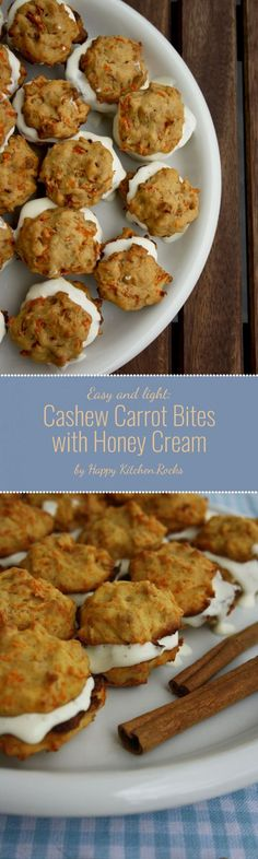 Cashew Carrot Bites with Honey Cream. Easy-to-make and ingenious dessert, moist, flavorful and yummy. It