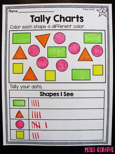 Tally charts worksheets and activities for first grade or kindergarten