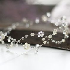 Wedding Hair Vine.Bridal Headpiece.Bridal Crown.Floral bridal headpiece.Crystal hair vine.Flower Wreath.Bridal greek headband.bead wreath