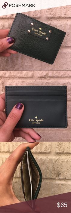 NWT Kate Spade Emerald Green Card Wallet Kate spade card wallet  Open slip pocket at top 3 card slots on the back Leather card holder with gold tone hardware and logo Approx. dimensions: 4.25 in L x 3 in H x 0.25 in W at the base kate spade Bags Wallets