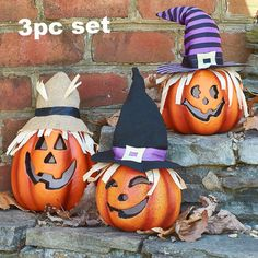 Pack of 2 3 Function Pumpkin Lite Scary Creepy Halloween Spooky Decoration