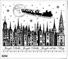 Shop for Crafty Individuals Unmounted Rubber Stamp Pkg - Jingle Bells Rooftops. Get free delivery On EVERYTHING* Overstock - Your Online Scrapbooking Shop! Christmas Art, Christmas Themes, Christmas Printables, Christmas Windows, Christmas Greetings, Vintage Christmas, Xmas, Ink Stamps, Craft Stamps