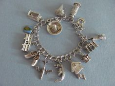 Vtg STERLING CHARM BRACELET 14 TRAVEL CHARMS 800 SILVER Tower Pisa Clock Gondola