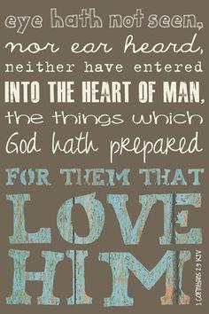 Scripture Art, Bible Verse Art, Faith Based Art, 1 Corinthians 2:9 KJV, 5x8 art print on wood