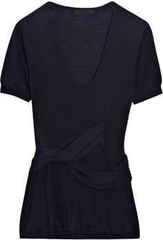 Burberry Prorsum Cross-front Wool-blend Sweater in Blue