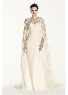 Oleg Cassini Crepe Wedding Dress with Chiffon Cape CWG716
