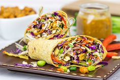 These vegan plant based Thai Peanut Wraps are loaded with tasty ingredients, but the icing on the cake is the quick peanut sauce. Just drizzle this flavor-packed sauce on top of the wraps before rolling them up, and you've got one heck of an awesome lunch.