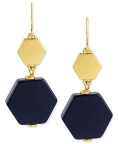 Kenneth Cole New York Earrings, Gold-Tone Navy Geometric Double Drop Earrings - Fashion Jewelry - Jewelry & Watches - Macy's