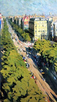 Boulevard with People,  Nicolas Tarkhoff - 1903
