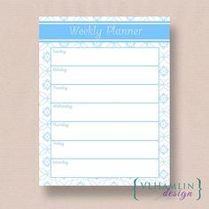 Blue Floral, Printable Weekly Planner, Schedule Organizer, Instant Download