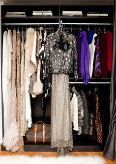 "Another glimpse of stylist Mary Alice Stephenson's ""over-the-top fashion library"" that occupies the entire upper floor of her Brooklyn brownstone #closet #wardrobe"