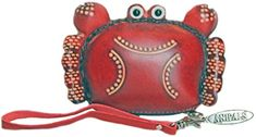 Leather Red Crab Coin Purse - Personalized Animal Fashion Gifts For Men Women Dad Mom >>> Want additional info? Click on the image. #WristletWallet