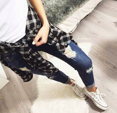 flannel and distressed jeans