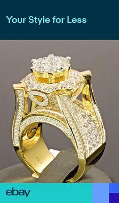 24516c17eabf Gorgeous 925 Silver White Sapphire Women Ring Wedding Bridal Jewelry Gift  Sz6-10. Sterling Silver FlowersSterling Silver Diamond RingsSterling ...