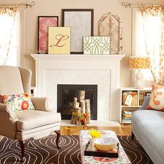Notice the cut logs-->wrap with colorful fabric strips for a cozy art piece