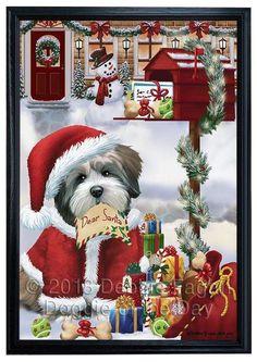 Jolly Old Saint Nick Santa American Eskimo Dog Holiday Gifts Canvas Wall Art