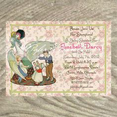 Digital printable diy mother goose invitation nursery rhyme sweet mother goose baby shower invitation by oldpaperandprints 1299 filmwisefo Images