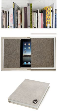 ipad cover - book. this would be even more clever for a kindle.