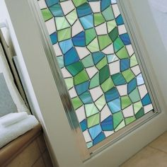 Atlantis Stained Glass Window Film from Wallpapers for Windows. Perfect for our guest room door/sidelight. - March 16 2019 at Window Privacy, Window Shutters, Curtain Alternatives, Atlantis, Stained Glass Window Film, Leaded Glass, Window Films, Bathroom Windows, Bath Window