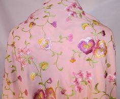 Vintage Pastel Pink Silk Floral Pansy Embroidered Flapper Boho ...
