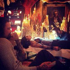 Tattooing @Kat Von D #hollywood #highvoltagetattoo #dotwork #dillonfortetattoo #blackwork [April 12th, 2014] Kat von D