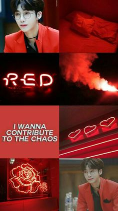 Hyungwon Red Aesthetic Wallpaper