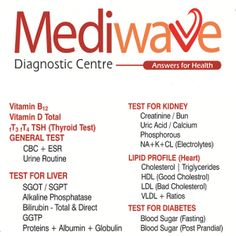 Mediwave offers complete Health Checkup facilities including Radiology and Pathology tests. Economic Blood Profile, Executive Blood Profile, Complete Health Package, Well-women Check-up, Vitamin Blood Profile, Diabetic Profile, Hypertension Profile, Arthritis Profile, Cardiac Profile and many more customized tests are on offer. To know more call us at 0-8898118595 or visit: http://www.way2healthcare.com/mediwave-diagnostic-centre-253