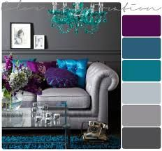 Grey, turquoise, purple room. I wonder if chocolate brown could be swapped for the grey?