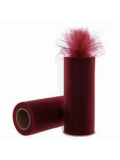 Burgundy Tulle Spool Roll Tutu Wedding Gift Bow - USD $1.99