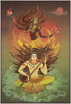 Shiva Shakti, Kali Shiva, Kali Hindu, Shiva Parvati Images, Shiva Art, Hindu Art, Shiva Yoga, Lord Ganesha Paintings, Lord Shiva Painting