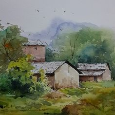 #watercolor #landscape #painting #india #art #chandigarh #sikander #drawing #watercolors #watercolorpainting #watercolour #tree #village #artistsikander #artwork #quickdrawing #himachal #sky #color #beauty #mountain #hills #masterpiece #realistic #composition