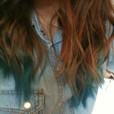 dip dyed blue and denim #hair #dipdye #blue #curls #waves #ombre