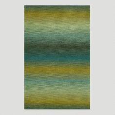 Ombre Stripes Ocean Wool Rug
