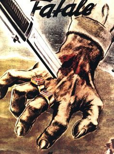 A knife stabs through a grasping hand, wearing rings bearing the British and American flags, over the Northern French coast. Ww2 Propaganda Posters, Political Posters, Communist Propaganda, Vintage Artwork, Vintage Posters, Military Art, World War Two, Wwii, Stock Photos