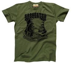 Sasquatch atop a hill in Portland Oregon t-shirt-Military Green