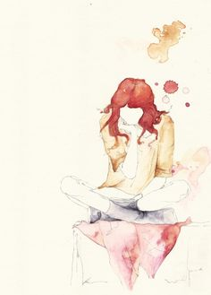 Girl Reading #watercolor #drawing #illustration .