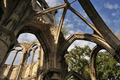 Nave of Notre-Dame d'Ourscamp ruins, Picardie, France The Places Youll Go, Great Places, Trout Farm, Natures Path, Seaside Resort, Castle Ruins, Gothic Architecture, Environment Design, Horseback Riding