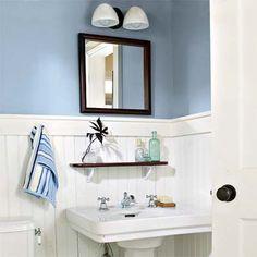 New bath room ideas color blue farrow ball Ideas Interior Paint, Interior Design Living Room, Farrow And Ball Lulworth Blue, Cottage Showers, Crystal Bedroom, Painted Wood Walls, Room Shelves, White Rooms, Farrow Ball