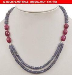 Double Strand Faceted Tanzanite and Ruby Gemstone Beaded Necklace -Free Earrings Stone : Tanzanite and Ruby Origin- Tanzania and African Mines Treatment - Nil and Enhanced Rubies Bead Jewellery, Pearl Jewelry, Indian Jewelry, Beaded Jewelry, Jewelery, Jewelry Necklaces, Handmade Jewelry, Wire Bracelets, Jewellery Making