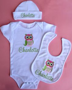Hey, I found this really awesome Etsy listing at http://www.etsy.com/listing/98518192/personalized-baby-owl-shirt-bib-hat