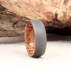Titanium Lined with Black Ash Burl Wood Ring by WedgewoodRings, $135.00