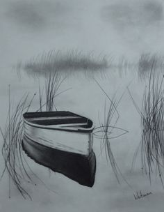 Misty row boat on the lake, reflections, sketch. Original art, graphite pencil drawing by Elena Whitman. #pencildrawings