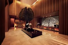 The Banyan Tree Spa at Marina Bay Sands experience begins the minute you step out of the elevator on the floor of the towering resort hotel. Hotel Interiors, Office Interiors, Home Office, Lobby Lounge, Hotel Reception, Spa Design, Design Ideas, Lobby Design, Restaurant Interior Design