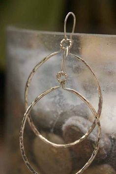 Face Front Hammered Sterling Hoops