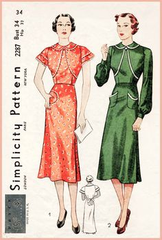 1930s women's wrap-around frock or apron. A one-piece frock with a high neckline finished with a turnover collar. The sleeves may be short of long in the bishop style gathered into a wristband. Patch pockets or novelty pockets slashed at the center option.
