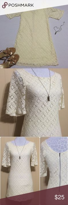 Nordstrom Everly Crochet Dress Beautiful ivory / cream crochet dress by Everly for Nordstrom. Fully lined with the exception of the sleeves, back zip, wide neckline. Dress is in flawless condition, no stains, no fading, no rips or tears, no shrinking. I prefer to hand wash all of my lacy/crochet items so that they keep their shape and beauty. Size tag removed but it's a small. Everly Dresses