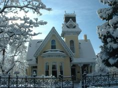 The Arnett-Fullen house after a snowfall, Boulder, Colo. - a 19th Century, Victorian Gothic-Revival style home with Second Empire influences
