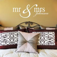 MR & MRS family name decal  wedding  anniversary gift by loladecor, $32.00